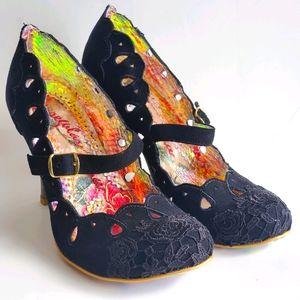 Irregular Choice Black Rose Embroidered Heels 8
